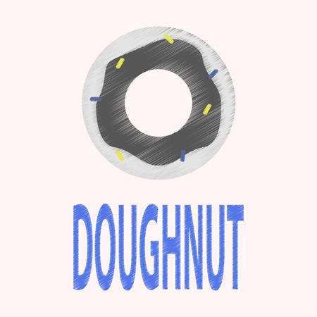 donut style: Flat Icon in Shading Style donut logo Illustration