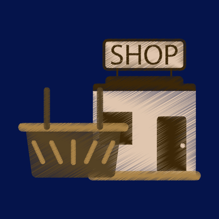 barbershop: Flat Icon in Shading Style shop basket