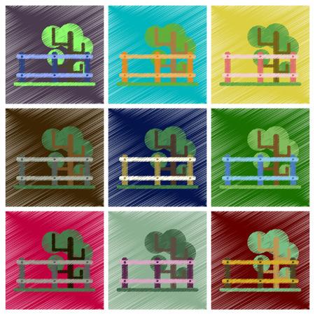 Set of Flat Icons in Shading Style Fenced tree Illustration