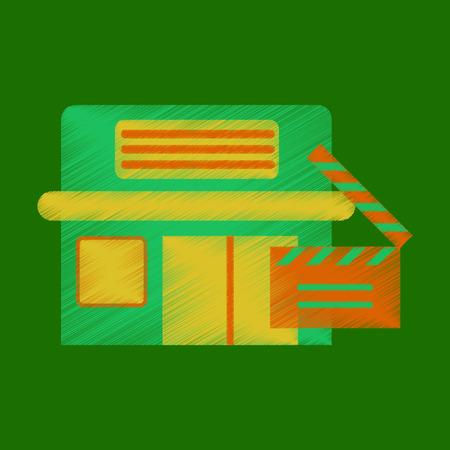 Flat Icon in Shading Style building cinema slapstick Illustration