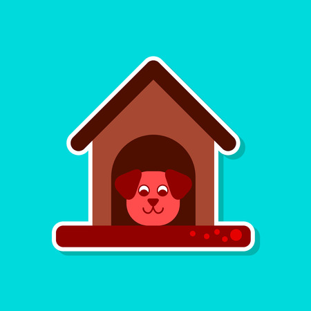 doghouse: Paper sticker on stylish background dog in booth. Vector illustration.