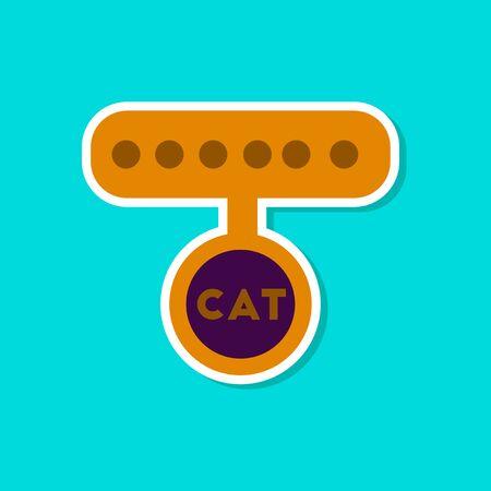 Paper sticker of a cat collar Иллюстрация