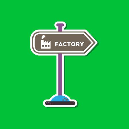 Paper sticker on stylish background sign factory Illustration