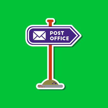 Paper sticker on stylish background sign post office Stock Vector - 83164795