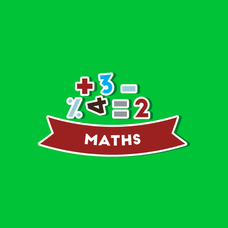 Paper sticker on stylish background math lesson Illustration