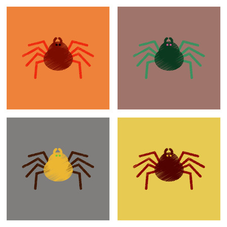 Assembly flat shading style icons halloween spider