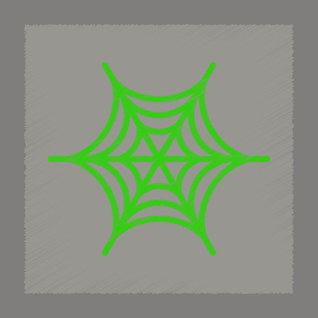 Flat shading style icon spider web. Vector illustration.