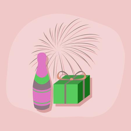 paper sticker on stylish background fireworks champagne gift