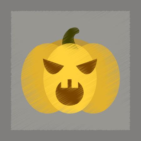 flat shading style icon halloween pumpkin