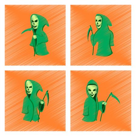 guadaña: assembly flat shading style icon halloween death scythe