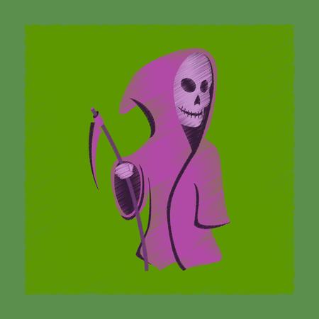 guadaña: icono plano del estilo del sombreado Scythe de la muerte de Halloween
