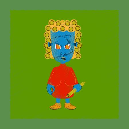 humorous: flat shading style icon zombie woman Illustration