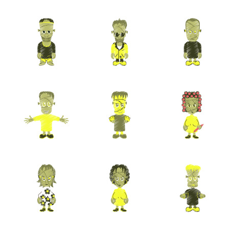 paranormal: assembly flat shading style icon halloween zombie family