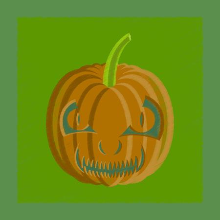 of helloween: flat shading style icon Halloween pumpkin emotions Illustration