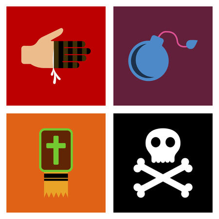paranormal: assembly of flat icons Halloween symbols
