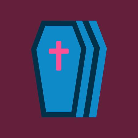 スタイリッシュな背景ハロウィーン棺のフラット アイコン  イラスト・ベクター素材