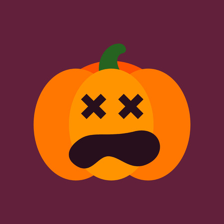 hole: flat icon on stylish background halloween pumpkin