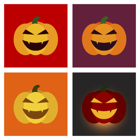 hole: assembly of flat icons halloween emotion pumpkin Illustration