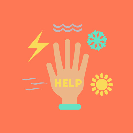 flat icon on stylish background hand disasters