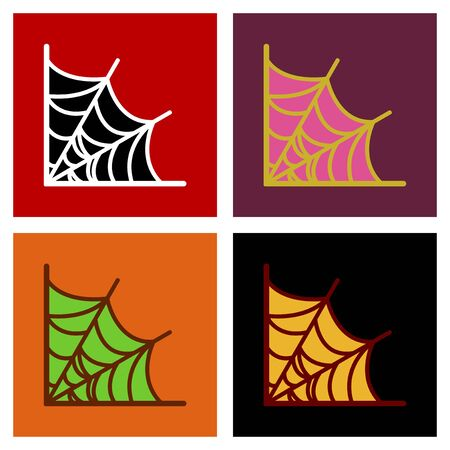 assembly flat icons spiders web Иллюстрация