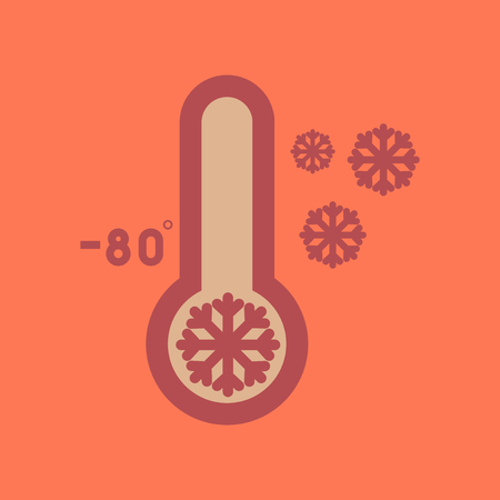 flat icon on stylish background thermometer cold weather