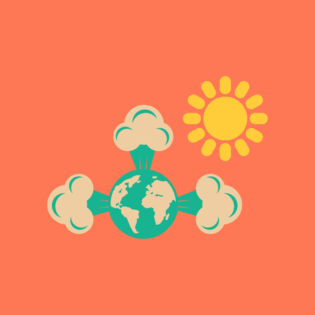 the greenhouse effect: flat icon on stylish background earth greenhouse effect Illustration