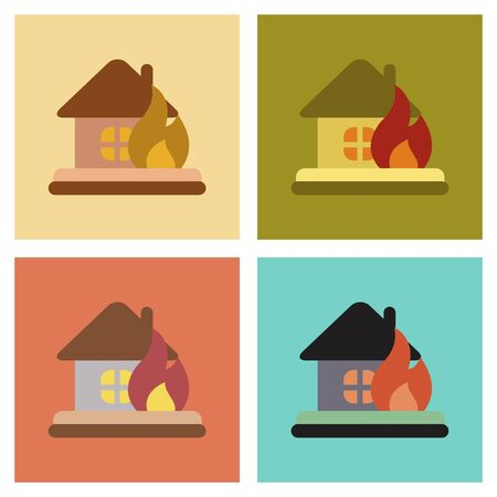 assembly flat icons nature fire house Illustration