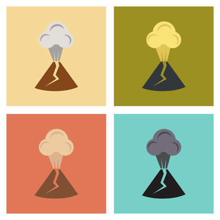 assembly flat icons nature volcano erupting