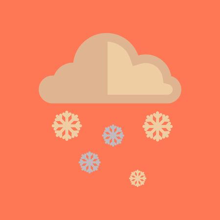 rainy season: flat icon on stylish background cloud Snow Illustration