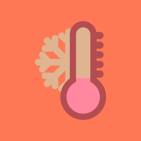 metrology: assembly flat icons nature thermometer cold weather Illustration