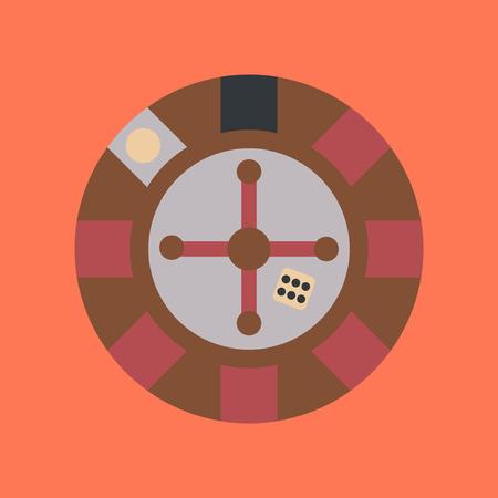 original single: flat icon on background poker roulette casino Illustration