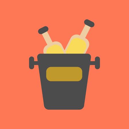 flat icon on background bottle bucket Çizim