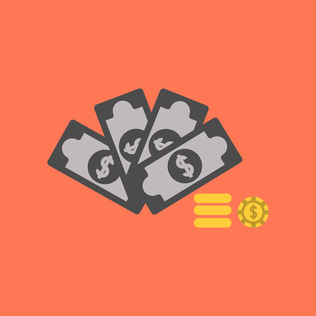 flat icon on background Money dice chips