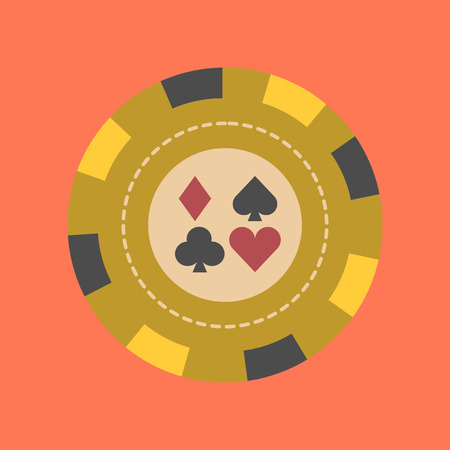 flat icon on background poker chips