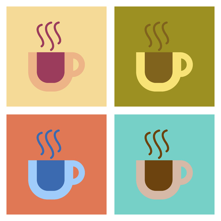 supper: assembly flat icons coffee cup flavor Illustration
