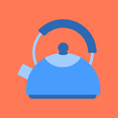 flat icon on background coffee dishware kettle