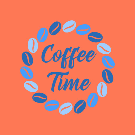 flat icon on background bean Coffee time logo