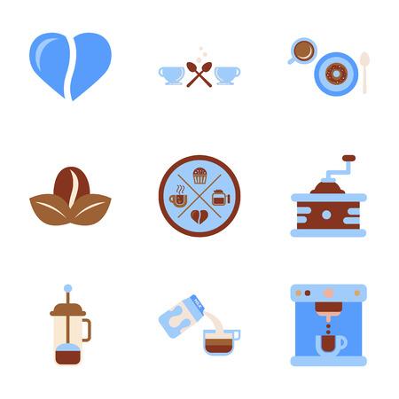 molinillo: montaje plana iconos taza de café