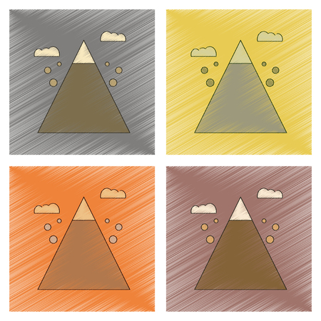 assembly flat shading style icon Mountain stones fall
