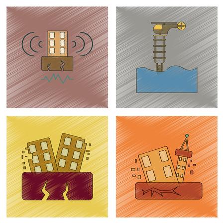 Assemblage plat ombrage style icône tremblement de terre et inondation Banque d'images - 83503229