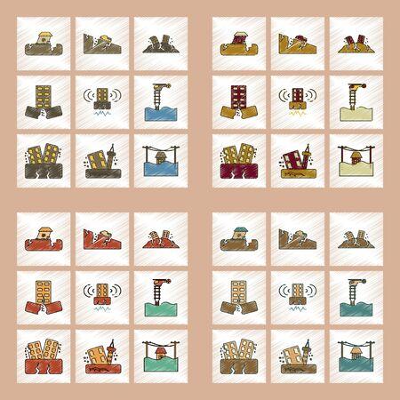 Icône de style plat ombrage plat planète de tremblement de terre et de l & # 39 ; Banque d'images - 83503232