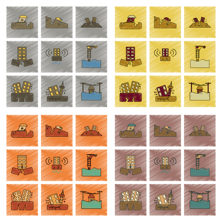 Assemblage plat ombrage style icône tremblement de terre tremblement de terre et inondation Banque d'images - 83503233