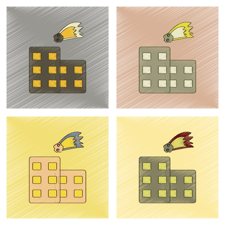 assembly flat shading style icon meteorite falling on house