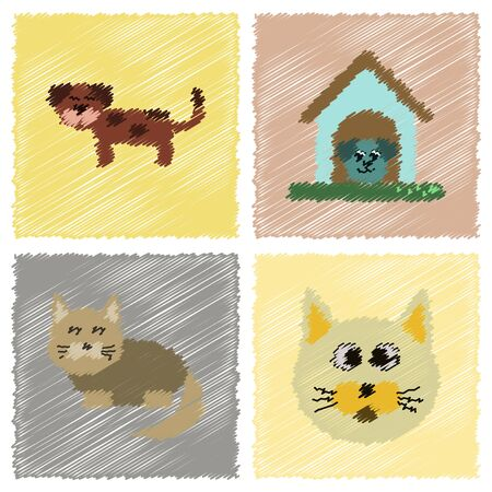 assembly flat shading style icons dog cats pets