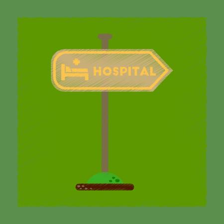 flat shading style icon hospital sign Illustration