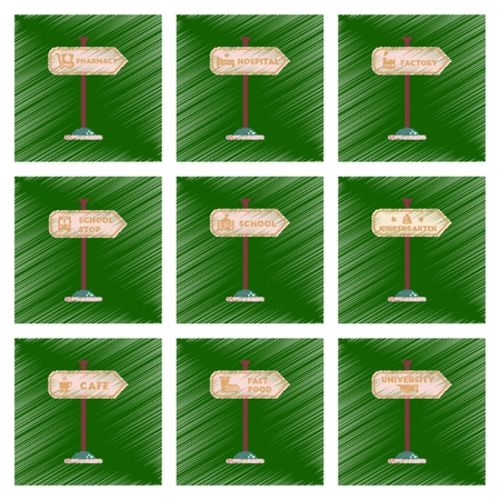 schoolbus: assembly flat shading style icons University kindergarten school fast food stop pharmacy cafe hospital sign