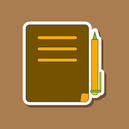 paper sticker on stylish background of notebook and pen