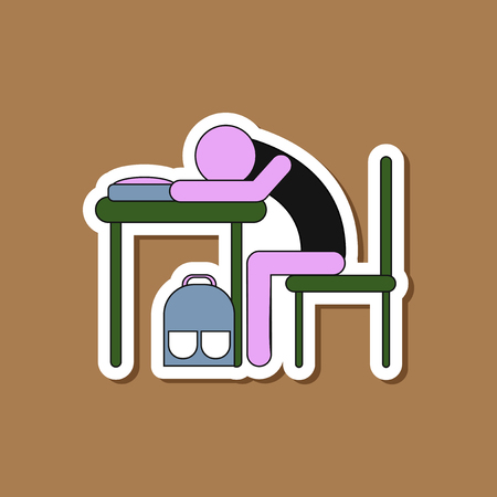 paper sticker on stylish background of student sleeping at the desk Stock Vector - 83503478