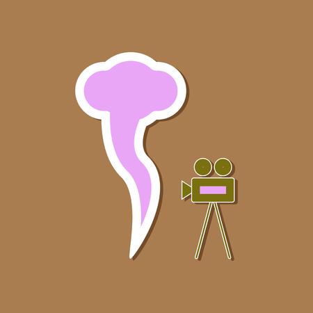 paper sticker on stylish background of tornado camera Illustration