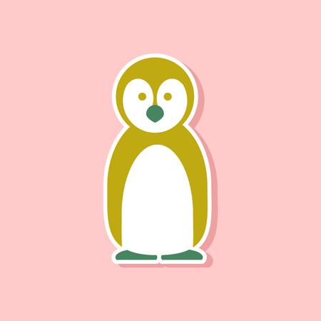 paper sticker on stylish background of penguin Illustration